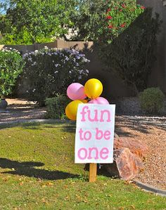 DIY Fun to be One sign; first birthday ideas; pink and gold birthday