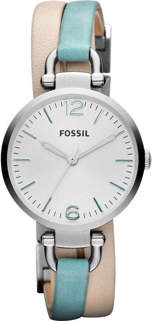FOSSIL Georgia Three Hand Leather Watch White And Teal #ES3224