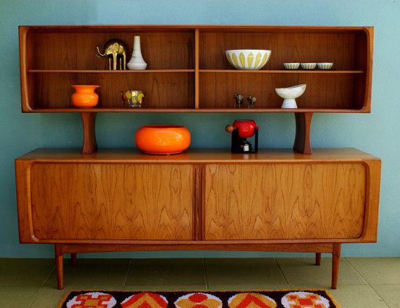 Mid Century Danish Modern Arne Vodder Sideboard Cabinet with Tambour Doors