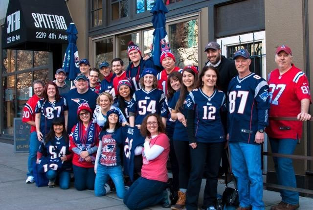Patriots fans gather at Spitfire in Seattle to watch games every Sunday.  Facebook @Boston Sports Fan Group of Seattle