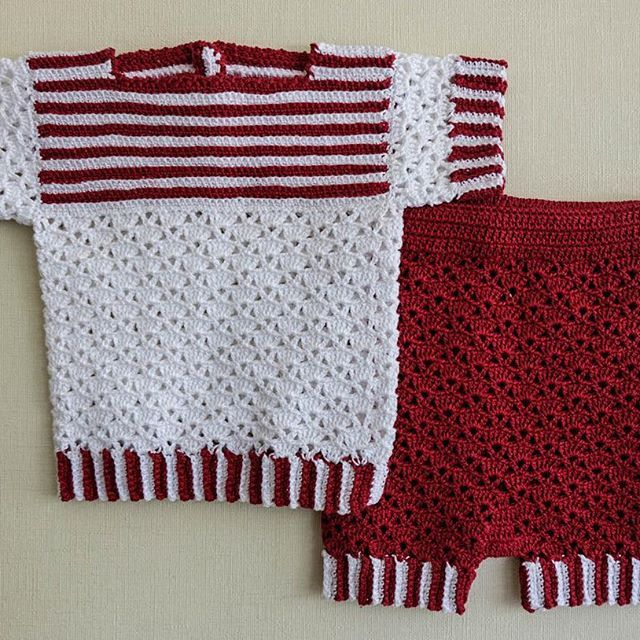 Otro traje para los días calurosos de verano #hechoamano #crochet #hilo #tejer #guagua #navidad