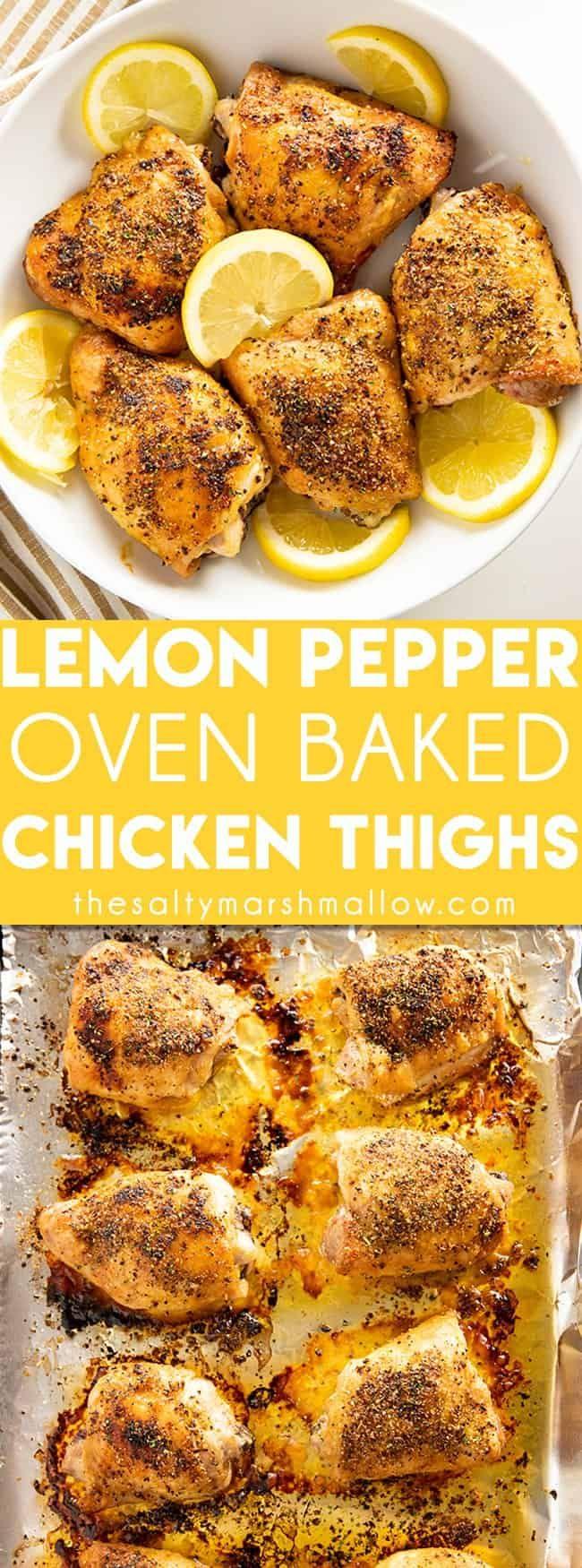 Zitronenpfeffer gebackene Hühnerschenkel