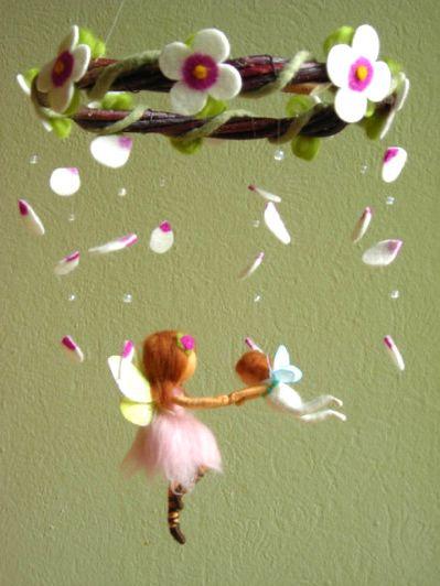 MobileIdeas, Ballet Scene, Fairies Mobiles, Baby Room, Baby Girls, Kids, Felt Flower, Interiors Gardens, Crafts Fairies