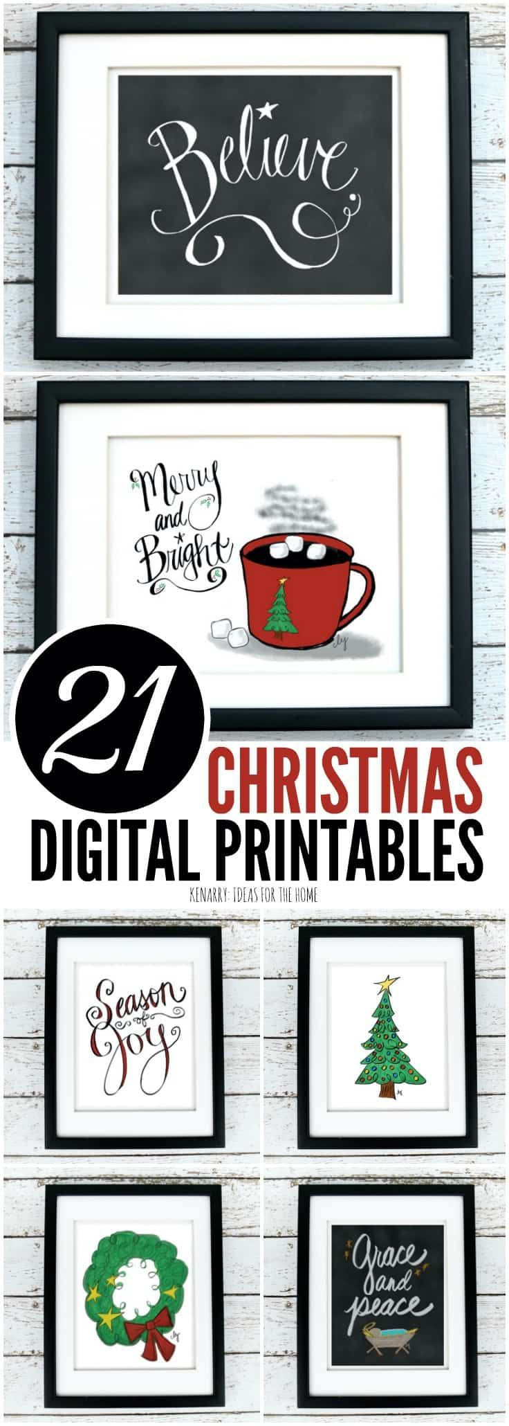 The Christmas printables collection from Kenarry: Ideas for the Home is available as digital printable art on Etsy. Printables are a great way to decorate the walls of your home on a budget for Christmas and the holiday season.
