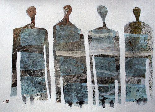 """""""Somebody's"""" by Scott Bergey -mixed media collage on paper"""