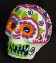 decorated original large sugar skull made from a MexicanSugarSkull.com mold