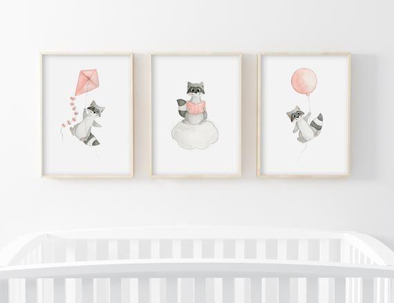 Affiches Aquarelle Enfant Lot 3 Illustrations Raton Laveur Rose