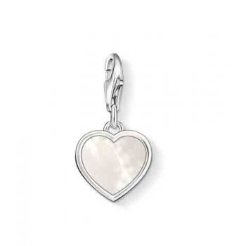 Thomas Sabo Sterling Silver Mother of Pearl Heart Charm. Would love it engraved on the back☺️