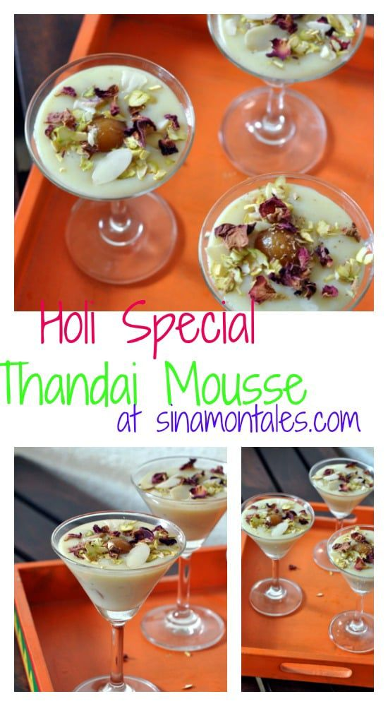 Thandai mousse with white chocolate, gulab jamun and thandai flavours its a perfect fusion dessert for your Holi party.