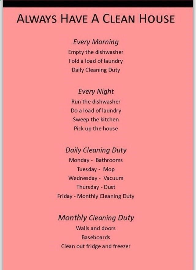 Cleaning schedule. OCD friendly.
