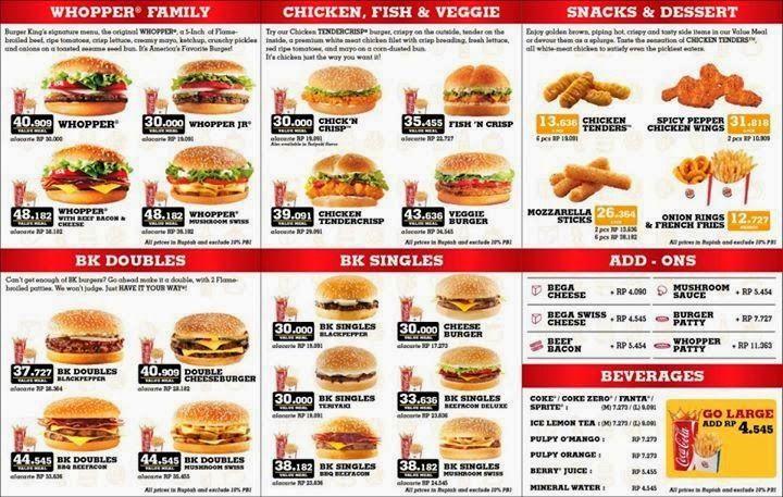 harga menu Burger King, harga menu Burger King delivery, menu Burger king Delivery, burger king,