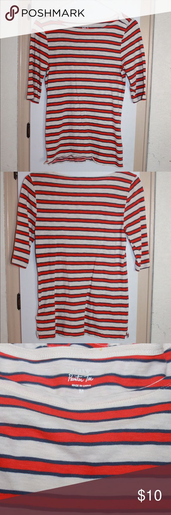 J. Crew painters Tee striped super cute 3/4 sleeve J Crew painters Tee striped super cute 3/4 sleeves new without price tag but still has the inside tag shown in picture 4 J. Crew Tops