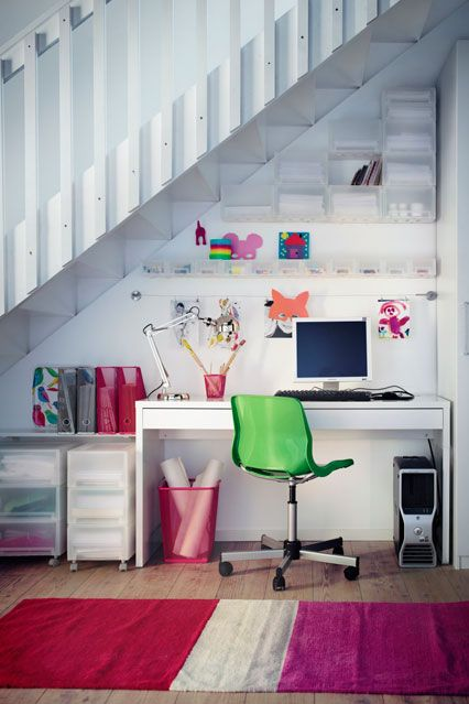 desk area under stairs | The Workspaces We Really Want