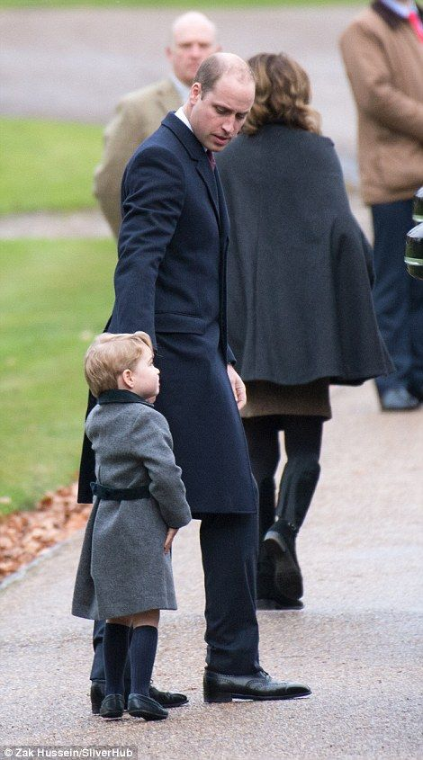 Prince William, Duke of Cambridge and Prince George of Cambridge attend the service at St Mark's Church on Christmas Day on December 25, 2016 in Bucklebury, Berkshire.