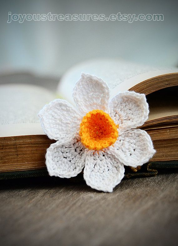 Crochet Bookmark Handmade Daffodil With Orange Center