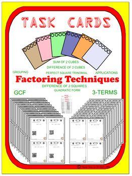 Task Cards - Factoring (optional QR) - 55 Task Cards