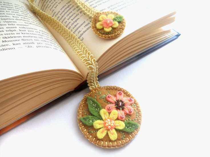 Felt ribbon bookmark in sand brown, embroidered floral flowery bookmark, personalized gift for book lovers Back to school gift. $13.00, via Etsy.