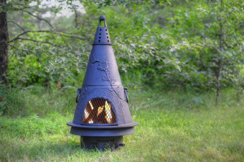 "The Blue Rooster Cast Iron Garden Chiminea by The Blue Rooster. $429.95. Ash Door w/Vent. Removable Top. Free Touch Up Bottle of Paint and Screen and Wood Tool. Cast Iron Grilling/Baking Insert &  Cast Iron Bottom Grate to Support Fire. Cast Iron CH009CI 44""x 22"" 172Lbs.. Heavy Cast Iron construction is perfect for permanent locations such as campgrounds or recreational areas. Heavy weight deters it ""walking off"" location. Regular maintenence will ensure years of commerc..."