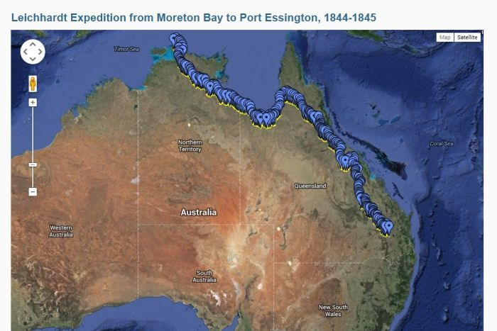 The digital map uses Google imagery to track Ludwig Leichhardt's expedition through northern Australia in 1844.