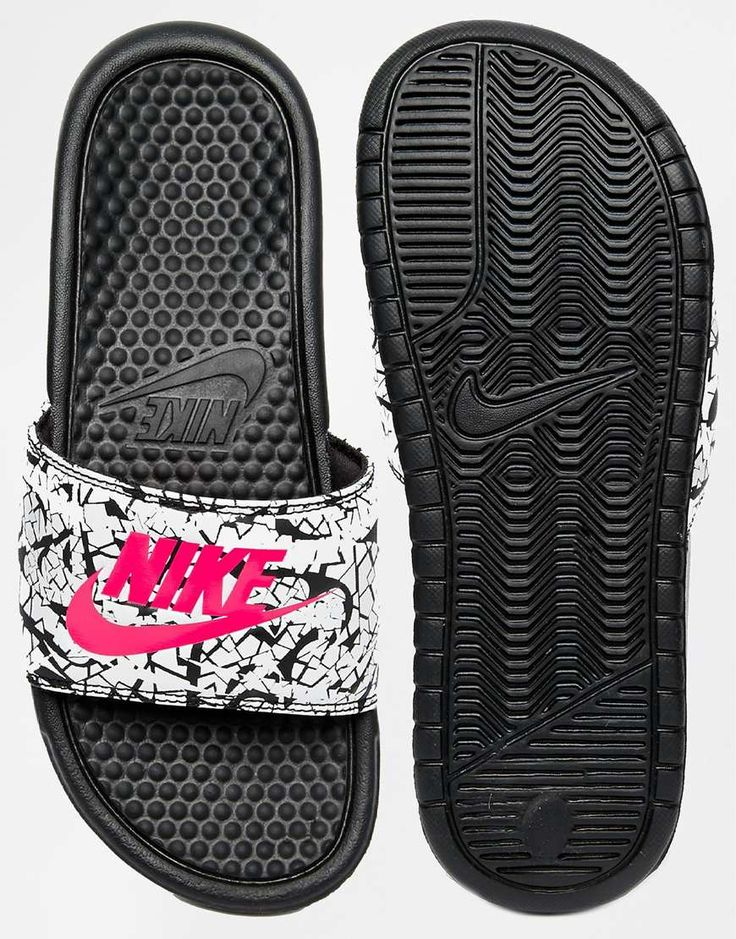 Image 3 of Nike Benassi Print Black Slider Sandals