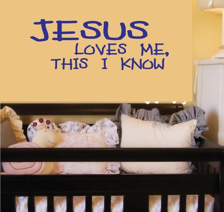 Wall Decal Children Vinyl Sticker Jesus Loves Me Baby Word Art Lettering Decor Bluestreak Decals. $18.95, via Etsy.