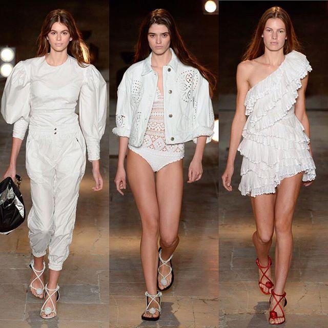 Nylon lace and leather at @isabelmarant SS18. Swipe left!/ Белое кружево асимметричные купальники кожа с заклёпками и цветные олимпийки на показе Isabel Marant. Листайте  и ищите все луки на Vogue.ru  via VOGUE RUSSIA MAGAZINE OFFICIAL INSTAGRAM - Fashion Campaigns  Haute Couture  Advertising  Editorial Photography  Magazine Cover Designs  Supermodels  Runway Models