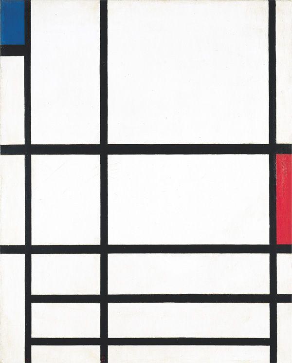 """Piet Mondrian - """"composition en rouge, bleu et blanc II"""", 1937"""