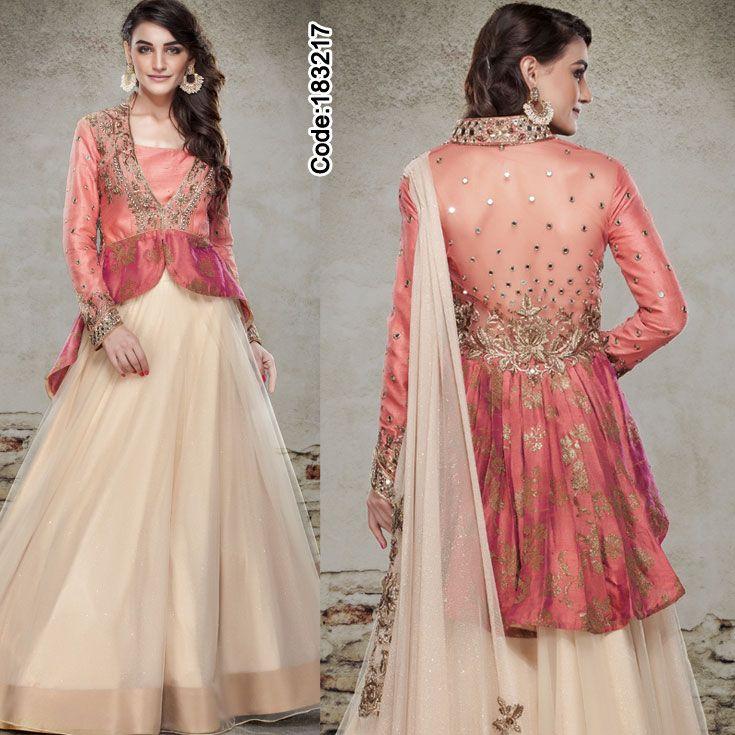 Try Crop-top lehenga this wedding season!  For price details visit: http://www.indianweddingsaree.com/Product/183217.html  #CropTop #LehengaCholi #Beige #Pink #FloralMotif #Volume #Layers #Embroidery #Designer #Occasion #IndianDresses #Partywears #Indian #Women #Bridalwear #Fashion #Fashionista #OnlineShopping