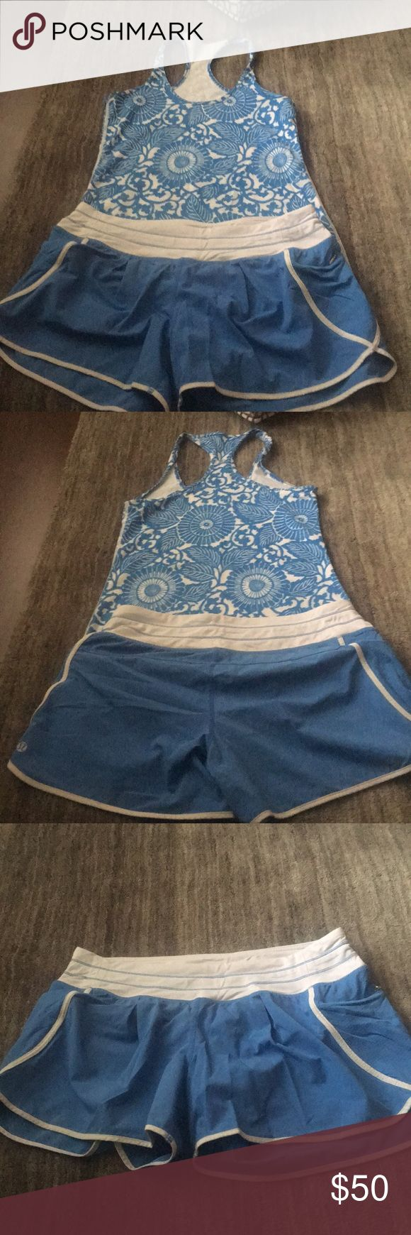 Lululemon Athletica racer back tank with shorts Lululemon Athletica blue and white design racer back with matching lined blue and white shorts. Excellent condition, non-smoking home, Price is firm lululemon athletica Shorts