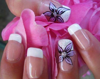 French Manicure with Purple Flower Designs 2014 | Nail Art Ideas