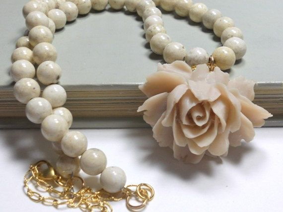 Beaded Necklace with Resin Rose Pendant Almond by TrudyAnnDesigns: Beaded Necklaces, Rose Pendants, Pendants Almond, Beads Necklaces, July Sales, Etsy Christmas, Resins Rose