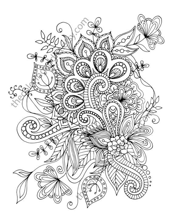 henna flower adult coloring sheet, instant coloring pdf