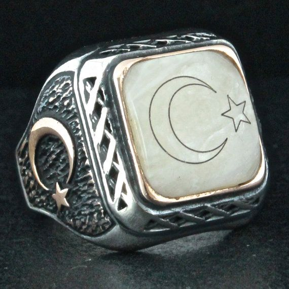 Sterling Silver Crescent Star Ring For Men With Mother Of