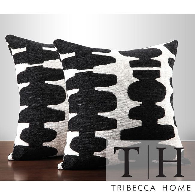 Overstock Decorative Throw Pillows : TRIBECCA HOME Black/ Light Grey 18-inch Pillow (Set of 2)