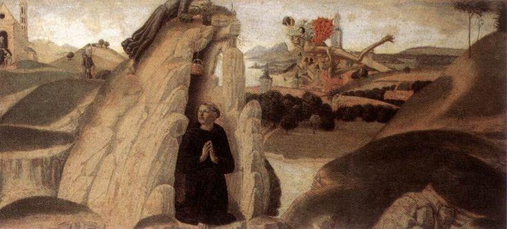 Obra; Tres episodios de ls vida de San Benito. Fecha:1475 Medio; Panel Dimensiones; altura: 28 cm (11 in). Ancho: 193 cm (76 in).  Pintor; Neroccio de Landi Ubicación: Galeria Uffizi, Florencia.