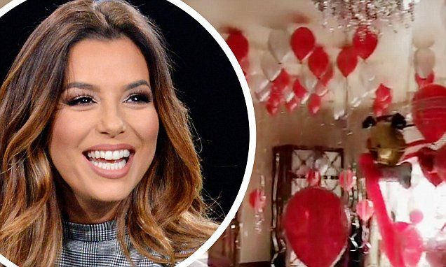 Eva Longoria Shares Valentines Day Balloon Display She Made For Hubby