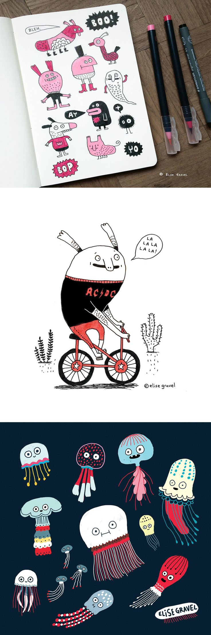 Elise Gravel illustration • characters • doodles • fun • pink • design • monsters • bike • jellyfish •