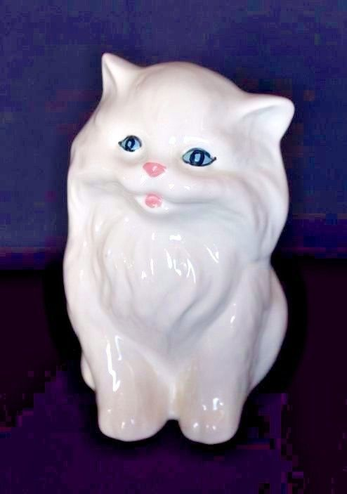 Vintage Ceramic PERSIAN CAT White With Blue Eyes #MadeInJapan #ceramicfigurine