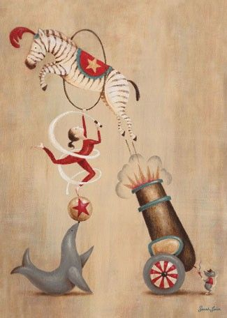 """Vintage Circus Cannon"" Art for Nursery goes perfectly with Sarah Lowe's entire Vintage Circus Collection for Oopsy Daisy sizes 10x14 and 18x24"