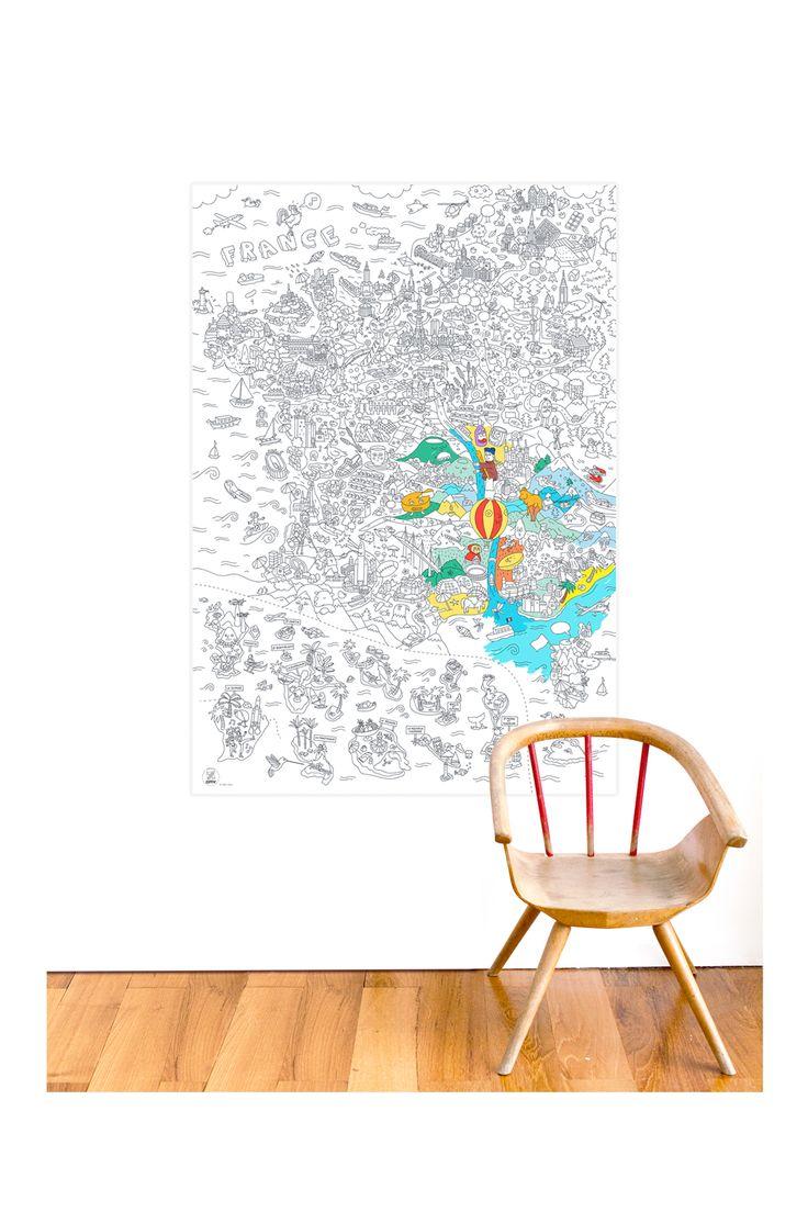 Poster géant à colorier France Blanc Omy sur MonShowroom.com