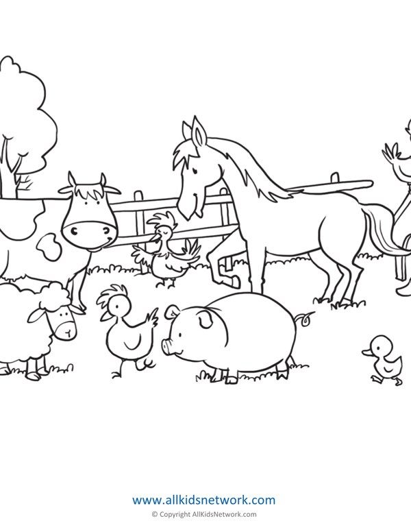 Farm Animals Coloring Page All Kids Network Farm Animal