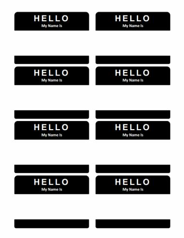 """Hello My Name Is"" Name Tag  - color and font can be edited in Word"