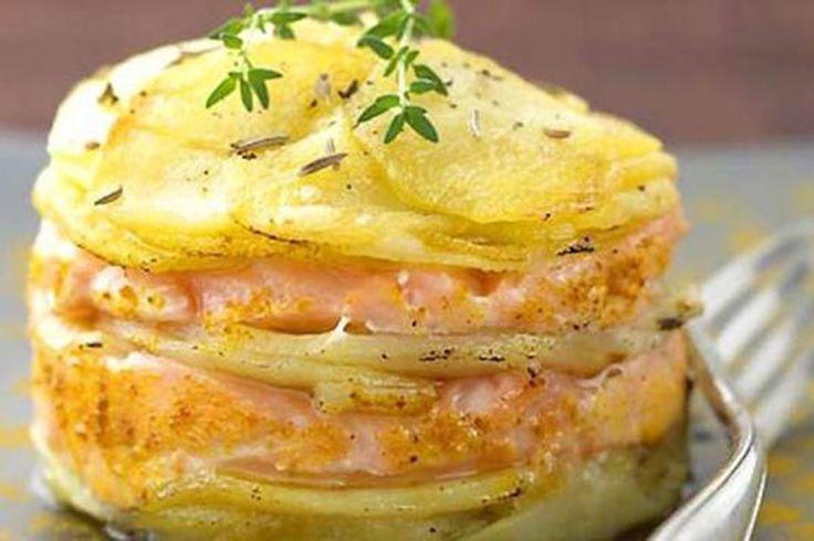 millefoglie di salmone e patate al forno