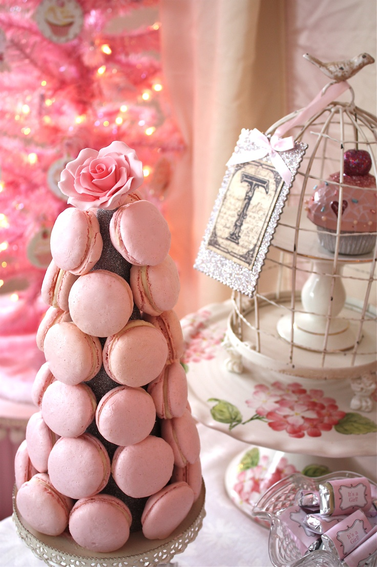 Parisian Macarons Tower, So very Shabby Chic for a Shabby Chic Tea Party Table:)