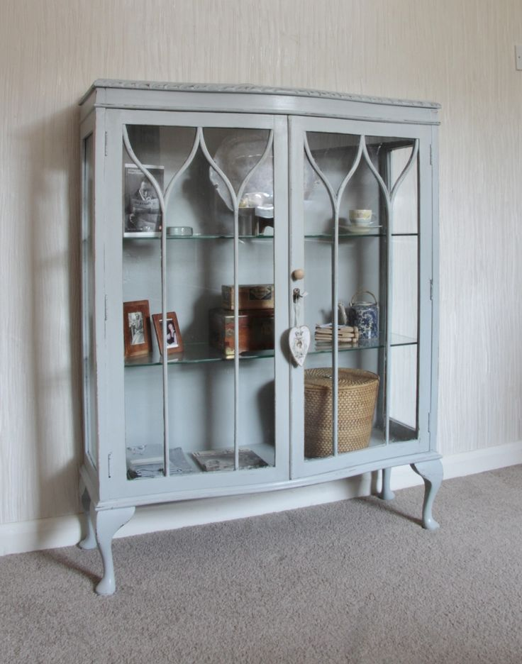Pretty old shabby chic display cabinet