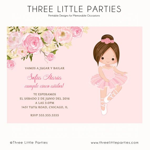 Tutu Ballerina Birthday Invitation Ballet by ThreeLittleParties