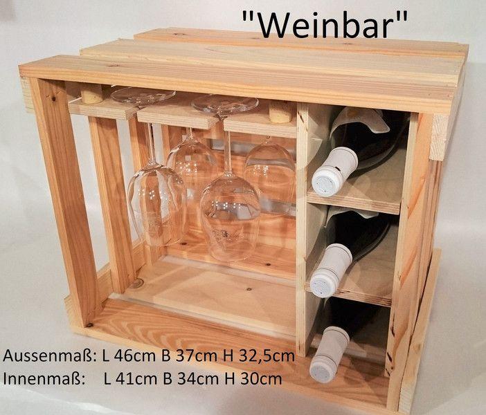 Deko-Objekte - Weinregal,Weinkiste,Weinpräsent,Weingläser, Wein - ein Designerstück von Kistenherbert bei DaWanda