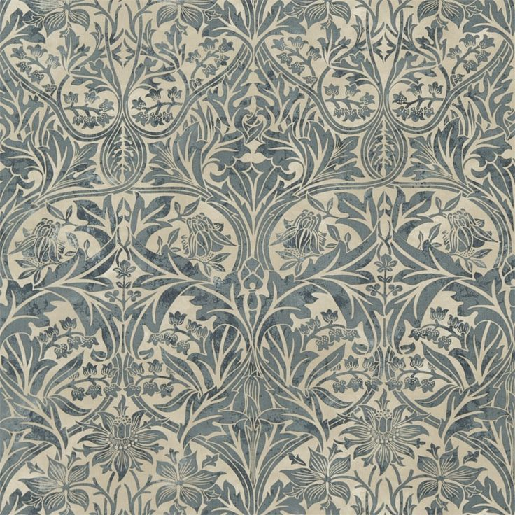 The Original Morris & Co - Bluebell originally known as Columbine was based on a collection of Rhenish 15th century printed linens that Morris first admired in the South Kensington Museum. An elegant symmetrical design printed with a subtle shading to reproduce the aged patina found in some of Morris original fabrics today.