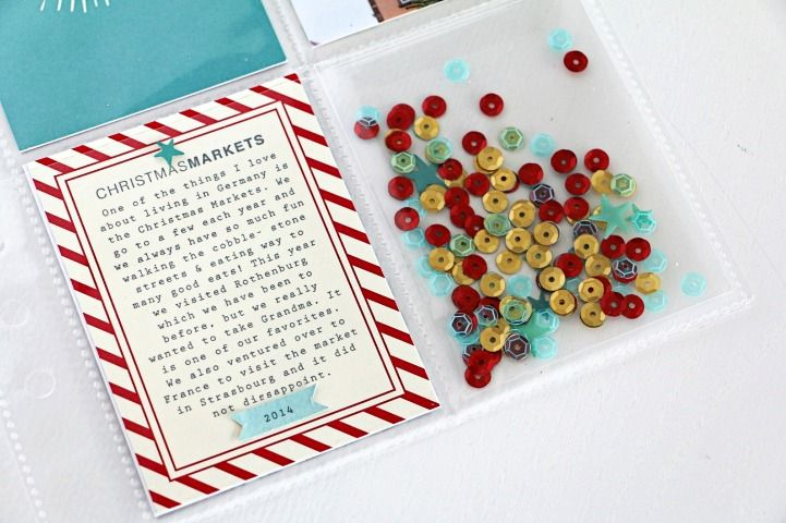 Stampin' Up Project life sample by Jot Girl Beshka Kueser - sequin shaker pocket project.