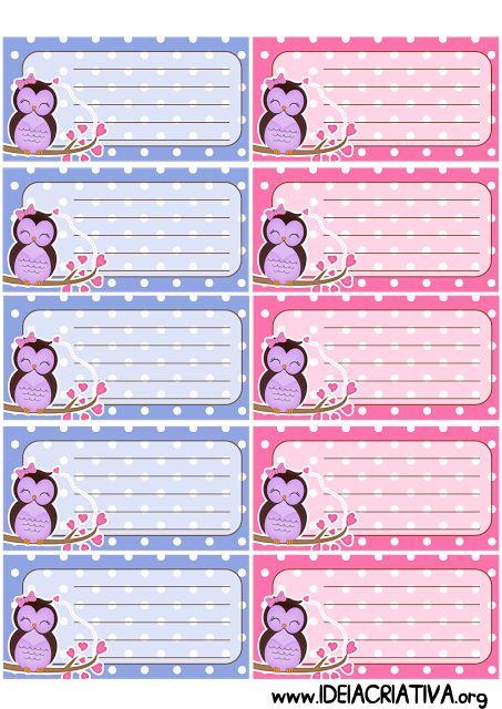 Etiquetas para caderno corujinha